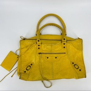 Balenciaga classic city bag mustard yellow leather